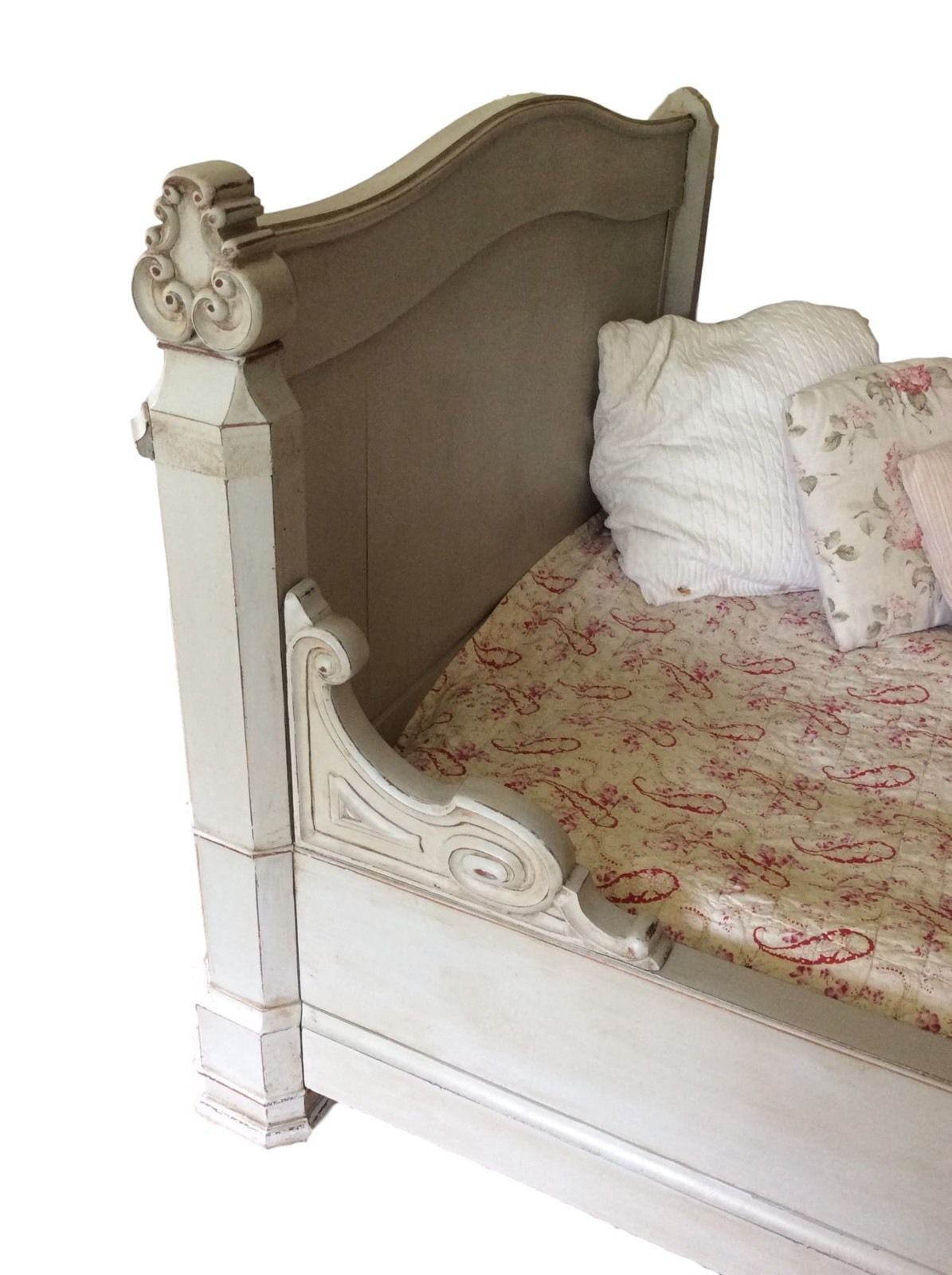 - Antique French Mahogany Day Bed Frame Painted Grey Sleigh Bed